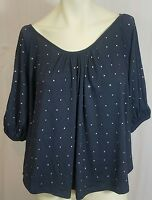 Willow & Clay Women's Top Blouse Size XS Boho Peasant Navy Blue Jeweled Stretch
