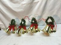 Vintage Gold Plastic Bell Christmas Ornaments with garland top  4.5in Lot Of 8