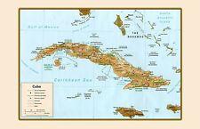 Cuba Cartina Geografica Segno Metallo Insegna ad Arco Targhe 20 X 30 CM W1266