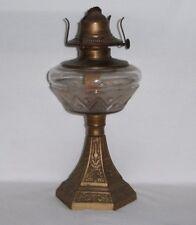 Antique Vintage Frosted Eapg Glass & Metal Pedestal Oil Lamp