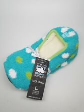 Worlds Softest Cozy Womens Slippers Turquoise Blue With Dots Size Large New