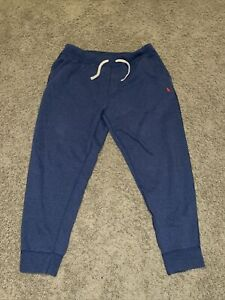 Polo Ralph Lauren Double Knit Jogger Pants Blue With Red Pony logo Size 2XL