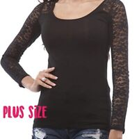 Sexy Black Scoop Neckline Lace Long-Sleeve /Upper Back Plus Size Blouse Top 1X