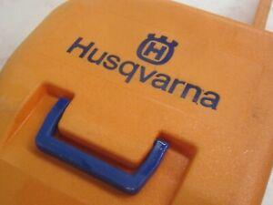 Vintage Husqvarna classic orange/blue chainsaw carrying case, Husky