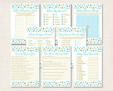Twinkle Star Blue & Gold Glitter Baby Shower Games Pack - 8 Printable Games