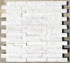WHITE LILLY MARBLE SPLITFACE STRIPES MOSAIC TILE BACKSPLASH (SOLD BY THE SHEET)