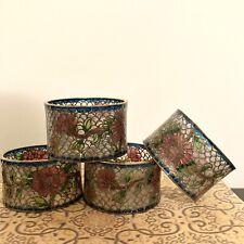 New listing Vintage Chinese Plique-A-Jour Cloisonné Floral Napkin Ring Holders Set Of 4