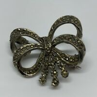 VINTAGE Marcasite Double Bow Brooch Silver Tone Kitsch