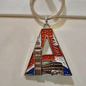 Letter A-Z / London souvenier union-jack london Initial Keyring souvenir On Sale