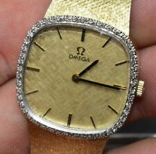 Vintage Omega 14k Gold Mechanical Watch w/ Diamond Bezel