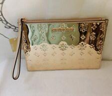 NWT Michael Kors Metallic/Chrome Signature Wristlet ROSE GOLD Bag Free Shipping