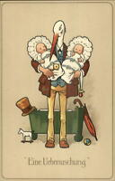 Fantasy Stork Dressed in Suit Twin Babies A SURPRISE German Meissner & Buch PC