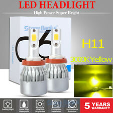 2x H11 H8 H9 3000K Golden Yellow LED Headlight Bulbs High Low Beam Fog Light