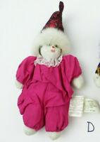 """Vintage 6"""" GANZ Porcelain Head Clown Doll Sand-Filled Body EN6931 (LOT D)"""