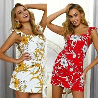 Women's Sexy Bodycon Wrap Floral Dresses Ladies Summer Holiday Beach Sundress