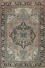 Muted Vintage Geometric Traditional Oriental Area Rug Low Pile Hand-knotted 8x10