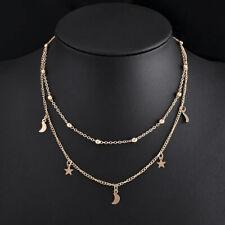 Necklace Moon Star Pendant Women Jewelry Chain Choker Gold Silver Choker Bib