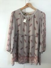 Anthropologie Pink Floral Baby Doll Chiffon Top Size Small