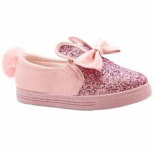 New Kids Girls Glitter Pom Pom Bunny Rabbit Ears Slip On Bow Detail Shoes
