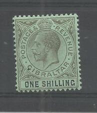 GIBRALTAR 1912 GEORGE 5TH 1/- BLACK/GREEN SG,81 M/MINT LOT 7680A