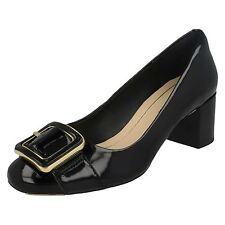 Ladies Clarks Smart Heel Slip on Court Shoes Orabella Fame Black Patent UK 6.5 D