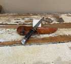 Vintage WESTERN Boy Scout Fixed Blade Knife Leather Wrapped Handle W/ Sheath
