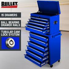 Blue 15 Drawer Tool Box Cabinet Chest Mechanic Toolbox Garage Trolley Storage
