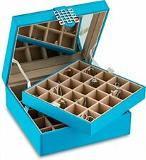Classic 50 Section Jewelry Box Earring Organizer With Large Mirror Blue