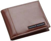 NEW TOMMY HILFIGER PASSCASE CREDIT CARD BILLFOLD ID MEN'S TAN LEATHER WALLET