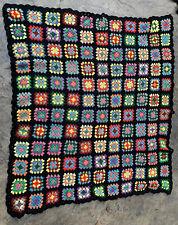 Vintage Afghan blanket throw crochet granny square multi color ~50x45�