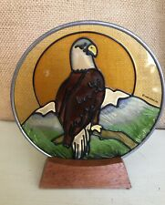 Vintage Large Stained Glass Eagle Bird Suncatcher 1983