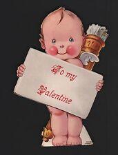 vintage Germany Valentine Card Kewpie angel hold large card brass holder arrow