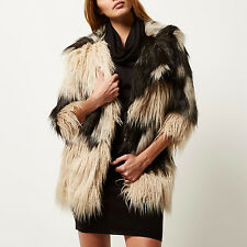BNWT RIVER ISLAND SIZE 6-8 FAUX FUR COAT FUNKY PATCH SHAGGY JACKET WOMENS LADIES