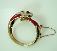Panetta Red  Panther Bangle Bracelet Vintage