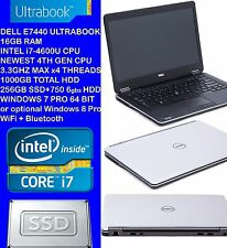 "i7 16GB RAM Dell 1000GB (256GB SSD+ 750GB HDD) Latitude E7440 14"" Ultrabook"