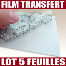 5 films transfert pour strass hotfix thermocollant - Format 24 x 15 cm