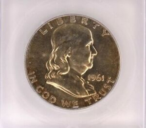 1961 FRANKLIN SILVER 50 CENTS ICG MS 65 EXCELLENT TOING!!