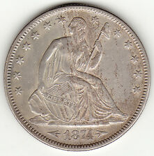 1874 ARROWS MOTTO SEATED HALF DOLLAR CH AU