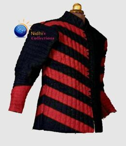 Medieval Aketon Jacket Costume Dres Gambeson Thick Padded Full Sleeves Coat Sca