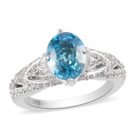 Platinum Over 925 Sterling Silver Blue Zircon Promise Ring Jewelry Size 9 Ct 3.9