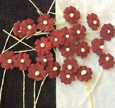 100 Burgundy Handmade Mulberry Paper Flowers maroon Dolls hats Miniatures cards