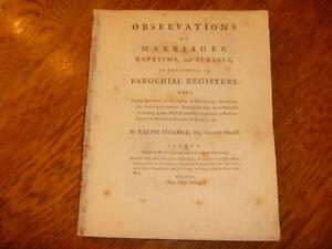 1764 Ralph Bigland, Observations on Marriages .. Burials .. Parochial Registers