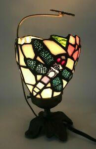 "Tiffany Style Mini Table Lamp Glass Shade 9"" Leaf Base Dragonfly"
