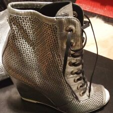 Chanel Authentic Metallic Silver Peep Toe Boots Size 40 'Brand New' RRP £980