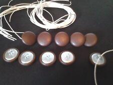 Botones De Tapicería. bucle Cable + longitud de hilo 10 X NO24 Vinilo Marrón Cubierta