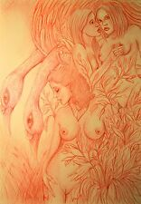 Akt Erotic Grafik ORGINAL NO Poster Love Female Sm Drawing BDSM Street Art 30x40