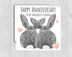 PERSONALISED WEDDING ANNIVERSARY Card Husband Wife names bunny rabbit