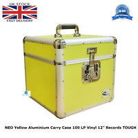 "1 X NEO Yellow Aluminium DJ Storage Carry Case 100 LP Vinyl 12"" Records TOUGH"