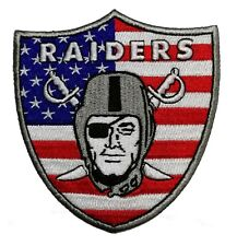 "🔥4"" OAKLAND RAIDERS USA Flag Iron-on Team Logo Jersey PATCH! Raider Nation"