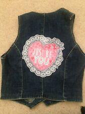 Ladies Size 12 Stretchy Blue Denim & Lace Waist Coat Jacket Original Loveheart